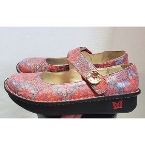 Alegria Leather Paloma Red Bloom Mary Jane Shoes